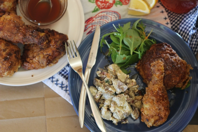 Sweet Tea Brined Fried Chicken with Grilled Potato Salad