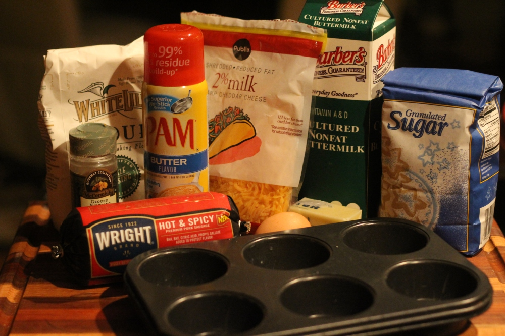Ingredients for Grab & Go Sausage & Cheese Muffins