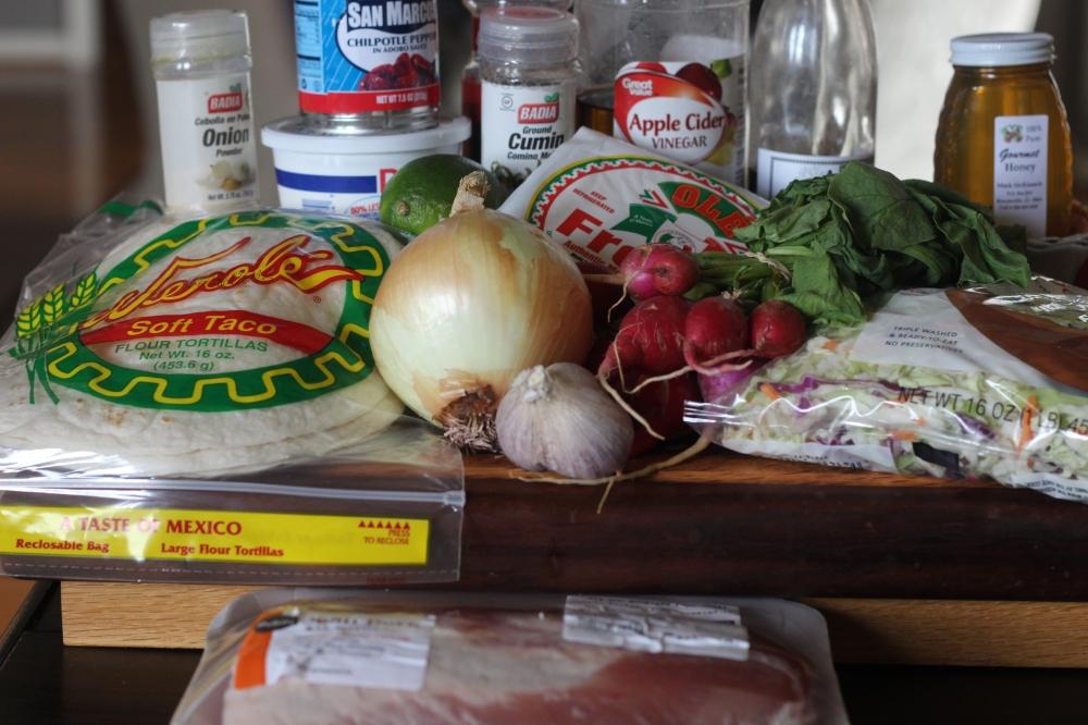 Chipotle & Honey Pork Tacos with Lime, Radish Slaw