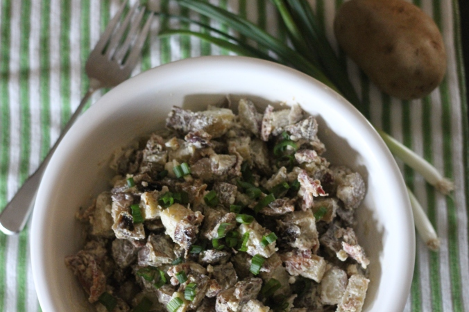 Char Grilled or Roasted Potato Salad with Bacon & Blue Cheese