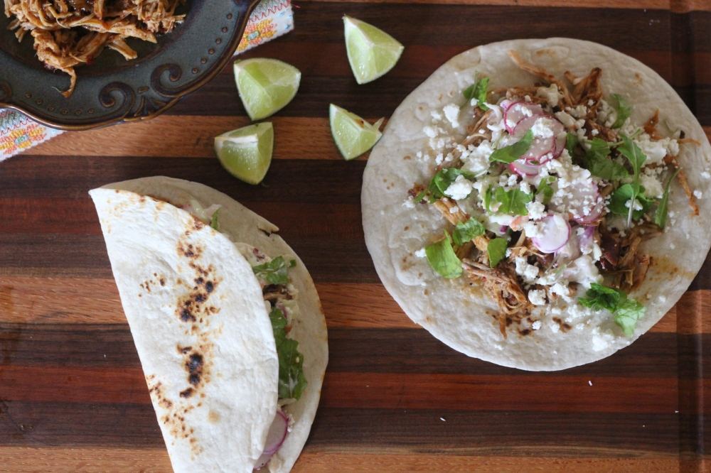 Chipotle & Honey Pork Tacos with Lime, Radish Slaw