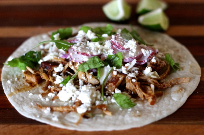 Chipotle Braised Pork Taco with a Lime, Radish Slaw