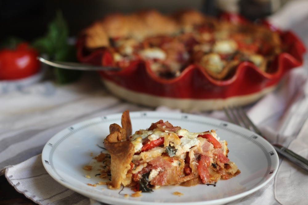 Tomato Pie with Goat Cheese, Bacon & Caramelized Onions